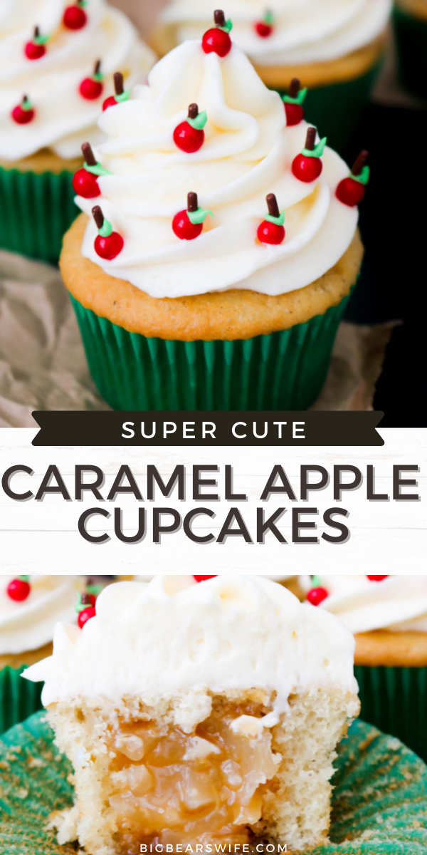 These super cute Caramel Apple Back to School Cupcakes are filled with caramel apple pie filling and decorated with the cutest little apples! 