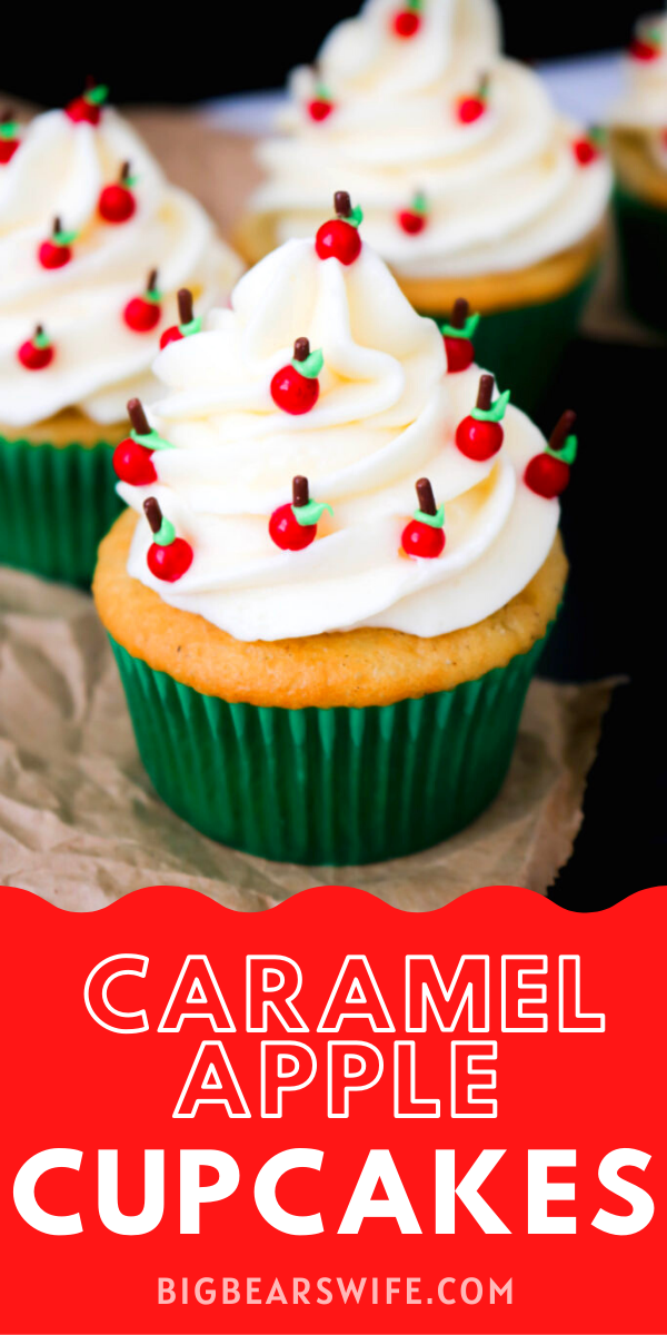 Caramel Apple Back to School Cupcakes - These super cute Caramel Apple Back to School Cupcakes are filled with caramel apple pie filling and decorated with the cutest little apples!  via @bigbearswife