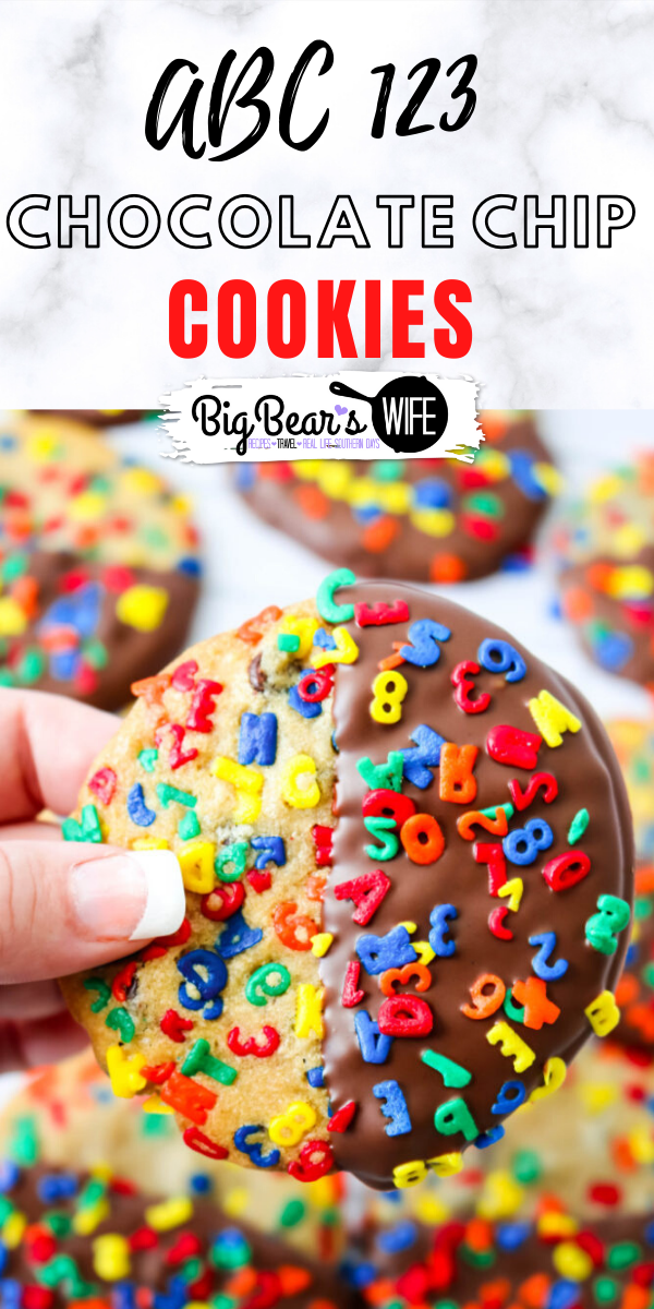 Chocolate Dipped ABC 123 Chocolate Chip Cookies - These Chocolate Dipped ABC 123 Chocolate Chip Cookies are a super colorful Back to School treat that's perfect for both kids and adults! If you're worried about the chocolate melting in their lunch boxes, the un-dipped version is just as delicious! via @bigbearswife