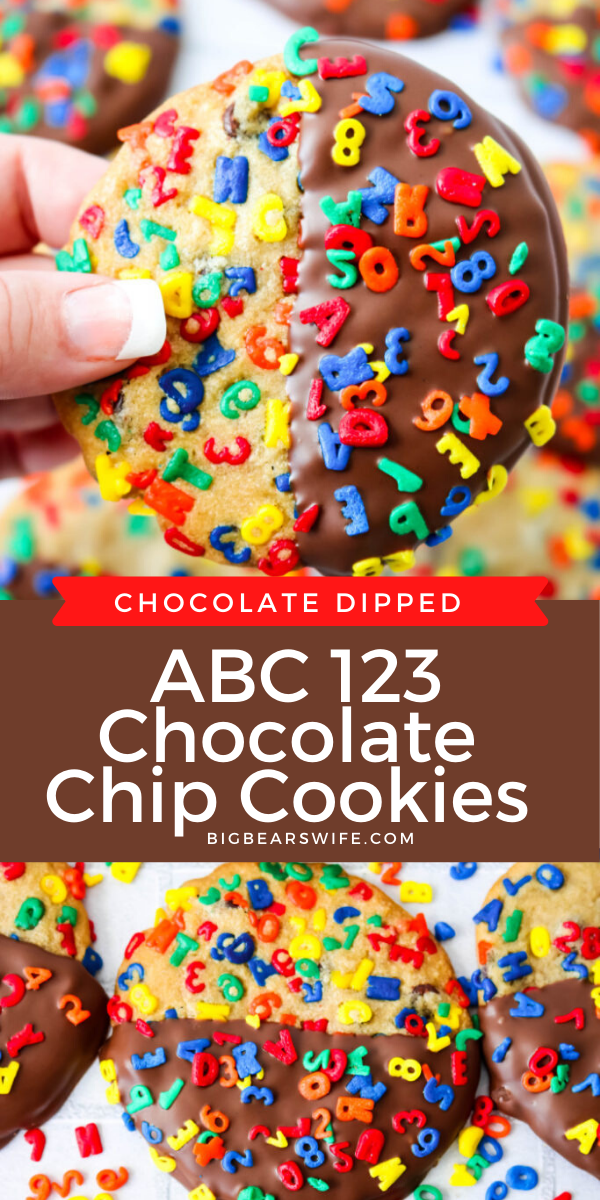 Chocolate Dipped ABC 123 Chocolate Chip Cookies - These Chocolate Dipped ABC 123 Chocolate Chip Cookies are a super colorful Back to School treat that's perfect for both kids and adults! If you're worried about the chocolate melting in their lunch boxes, the un-dipped version is just as delicious!