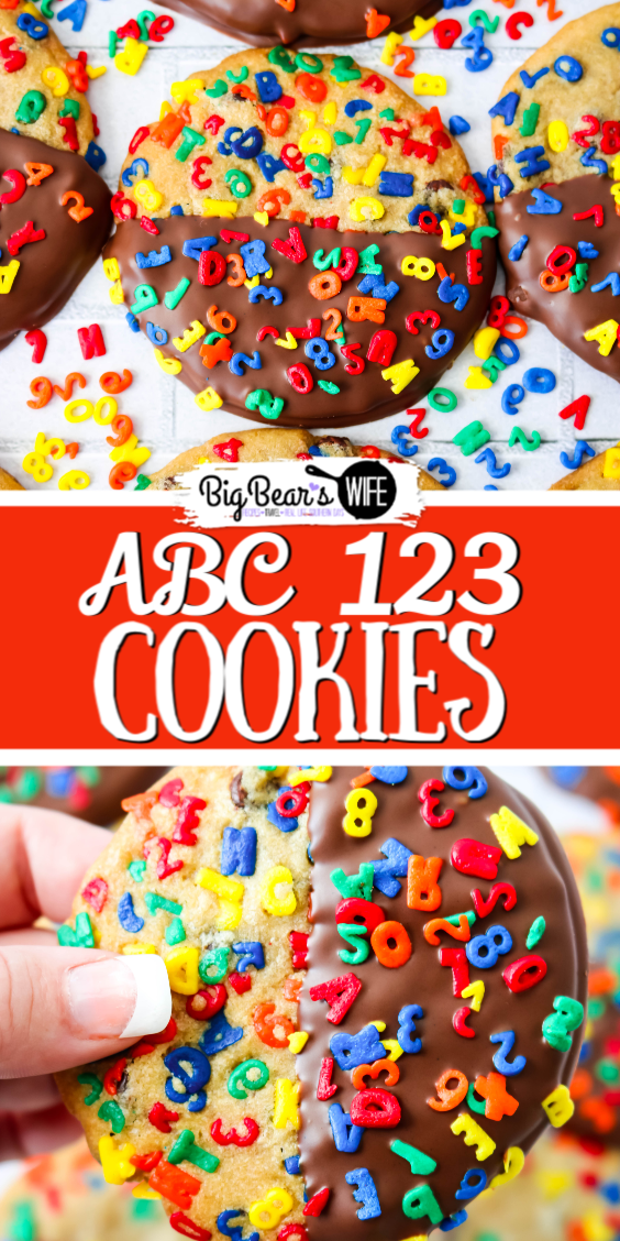 These Chocolate Dipped ABC 123 Chocolate Chip Cookies are a super colorful Back to School treat that's perfect for both kids and adults! If you're worried about the chocolate melting in their lunch boxes, the un-dipped version is just as delicious! via @bigbearswife