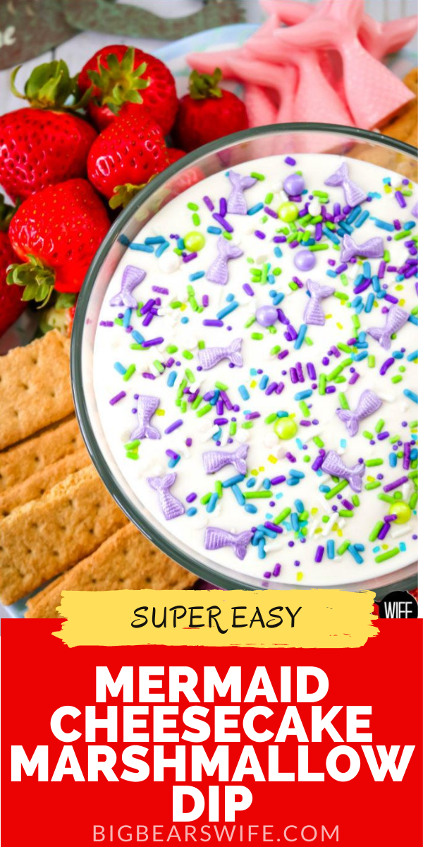 Having a sweet summer party this year or looking for ideas for a Mermaid Party? This Mermaid Cheesecake Marshmallow Dip is perfect for fruit, cookies, pretzels and chocolate mermaid tails! All of the Mermaid lovers in your life will love this sweet treat!  