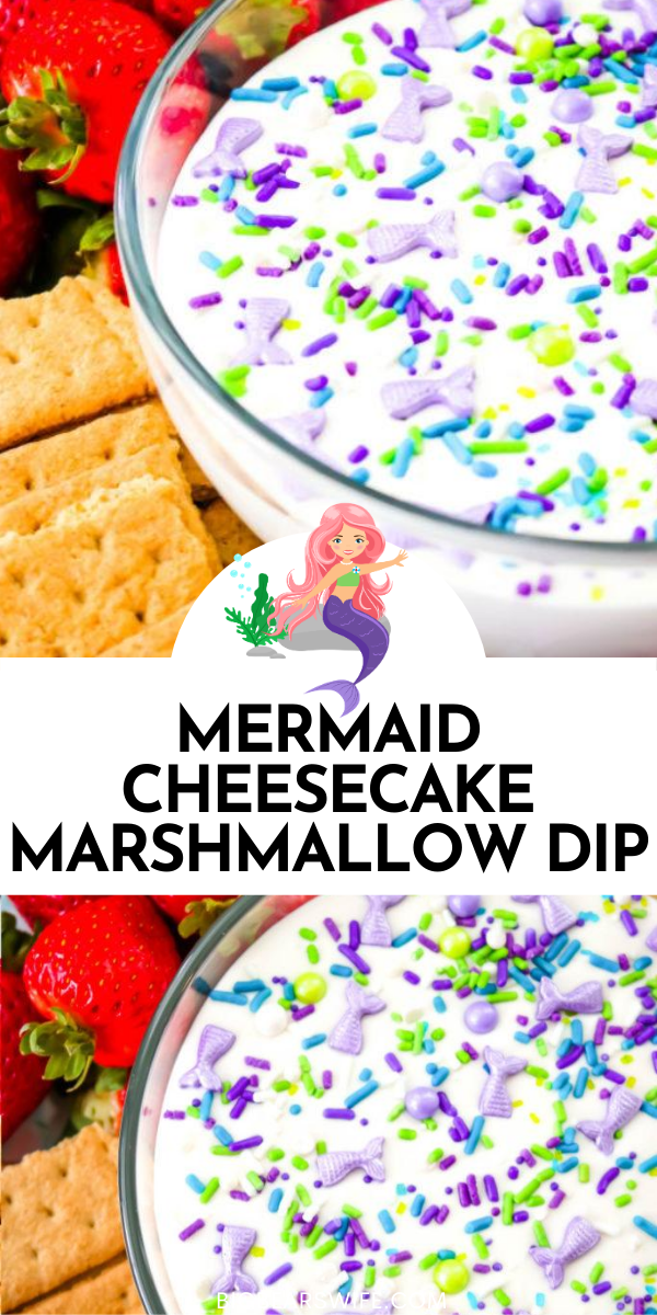 Mermaid Cheesecake Marshmallow Dip - Having a sweet summer party this year or looking for ideas for a Mermaid Party? This Mermaid Cheesecake Marshmallow Dip is perfect for fruit, cookies, pretzels and chocolate mermaid tails! All of the Mermaid lovers in your life will love this sweet treat!