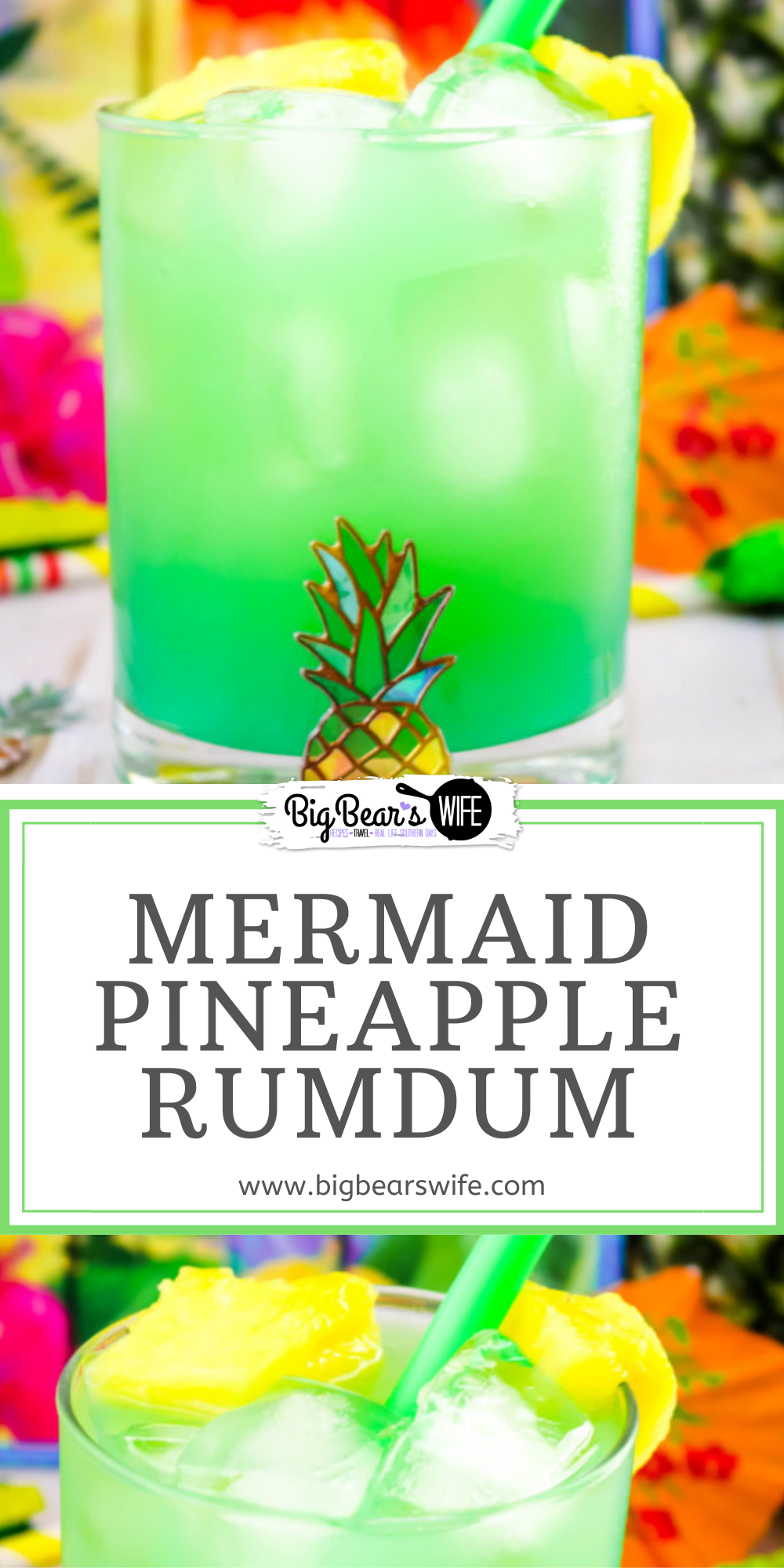 This Mermaid Pineapple RumDum will make you feel like you're hanging out on the beach and after a few you might feel like you're swimming with mermaids! It's got pineapple rum and vanilla rum mixed plus it's topped with extra pineapple! For an extra kick, soak the pineapple pieces in rum for a few days beforehand!    via @bigbearswife