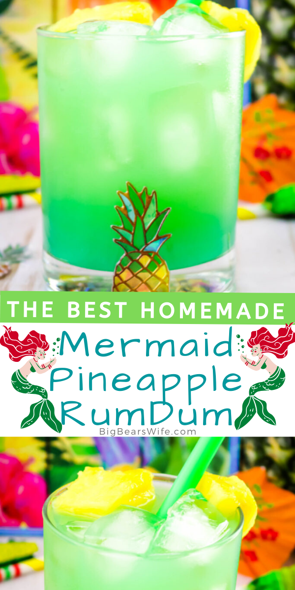 This Mermaid Pineapple RumDum will make you feel like you're hanging out on the beach and after a few you might feel like you're swimming with mermaids! It's got pineapple rum and vanilla rum mixed plus it's topped with extra pineapple! For an extra kick, soak the pineapple pieces in rum for a few days beforehand!