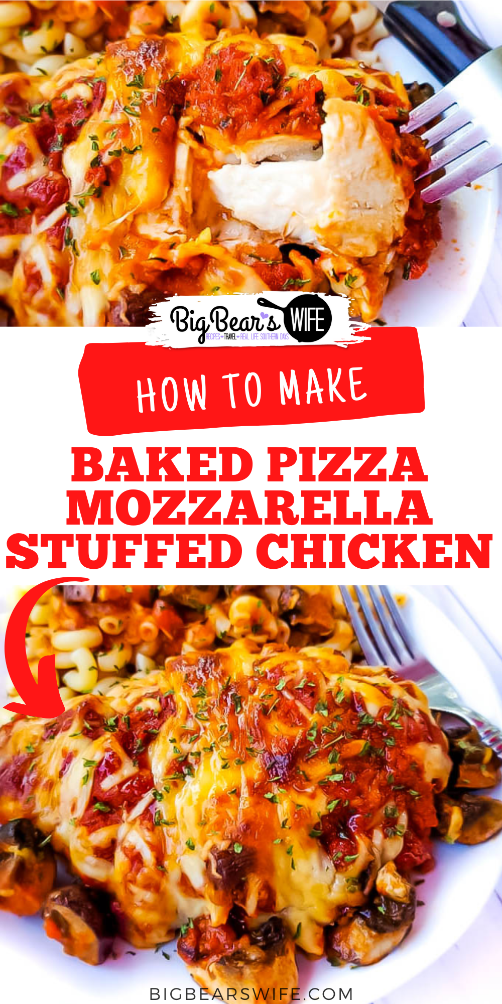 This Baked Pizza Mozzarella Stuffed Chicken is a tasty combination of cheese stuffed chicken and pizza! 