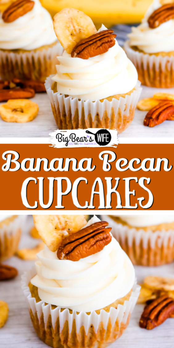 Banana Pecan Cupcakes - A batch of Banana Pecan Cupcakes would brighten any southern's day, well actually they'd brighten anyone's day! They are made from scratch with a super easy recipe and topped with a fantastic homemade cream cheese frosting! via @bigbearswife