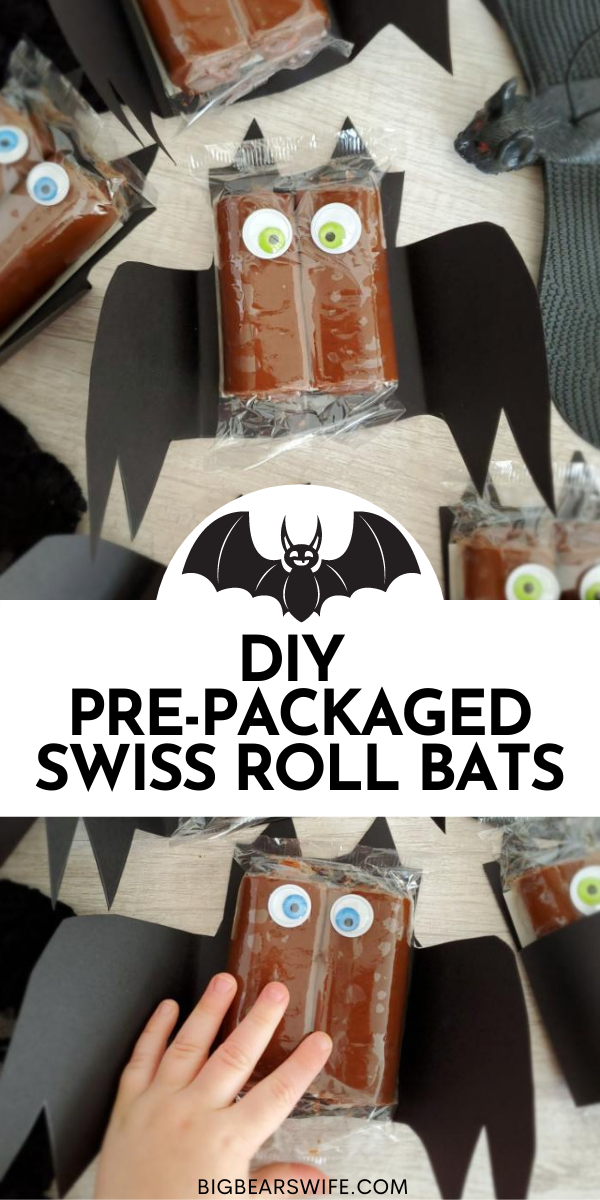 These spooky DIY Pre-Packaged Swiss Roll Bats are so easy to make and they're perfect for classroom treats and Halloween parties!  via @bigbearswife