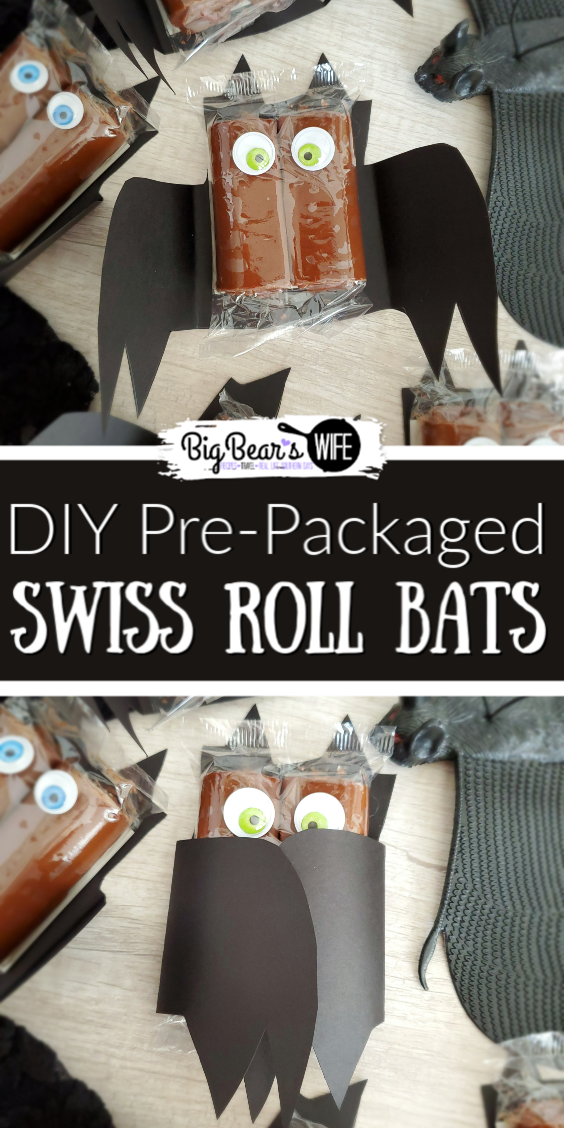 These spooky DIY Pre-Packaged Swiss Roll Bats are a super easy Halloween treat and so easy to make. They're perfect for classroom treats and Halloween parties!  via @bigbearswife