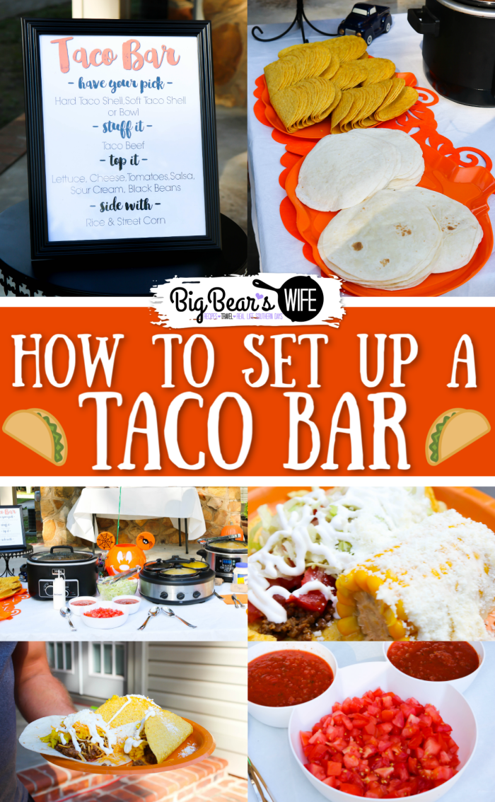 How to set up for a Taco Bar - Looking to set up a Build Your Own Taco Bar for a party or for a fun family dinner? You've come to the right place! In this post I'll show you how to set up a taco bar for a party and give you some ideas for side items as well!  via @bigbearswife