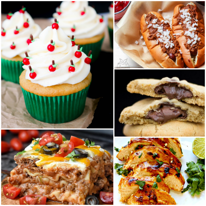 meal plan Monday recipe collage with cupcakes, hot dogs, cookies, chicken, and enchilada lasagna