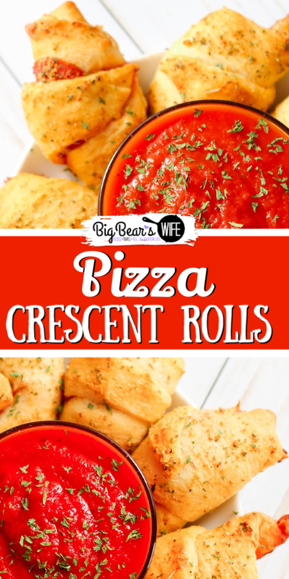 Pizza Crescent Roll Dippers -These Pizza Crescent Roll Dippers are tasty bites of pizza wrapped up in baked garlic olive oil brushed crescent rolls and dipped in marinara sauce. They make a great snack or an easy lunch or dinner! via @bigbearswife