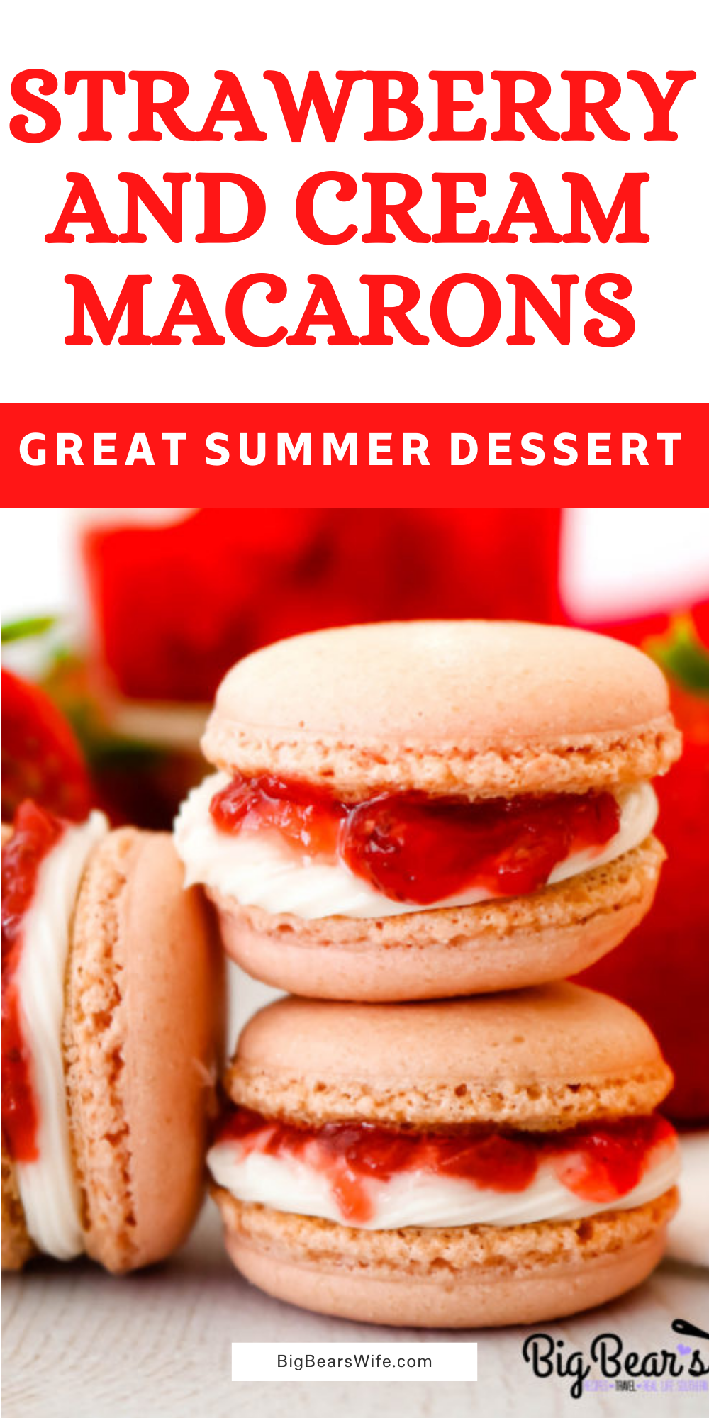 These Strawberry and Cream Macarons scream summer with their freshly made strawberry sauce centers sandwiched into the middle of homemade cream frosting. Macarons are always best if left to sit for 24 hours, but even better after 48. via @bigbearswife