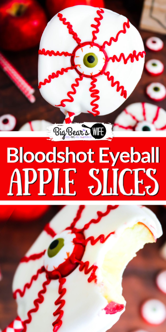 Love Chocolate Apples but don't want to dip tons of them for a party? These Bloodshot Eyeball Apple Slices are the answer to your problems! Just as tasty and oh so spooky when decorated to look like bloodshot eyeballs!