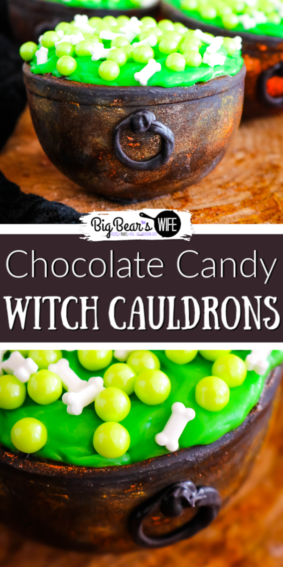 These Chocolate Candy Witch Cauldrons can hold all kinds of treats for your wicked little witches and warlocks! These cauldrons are filled with brownie bites, icing and topped with a witches brew of bone and bubble sprinkles! via @bigbearswife