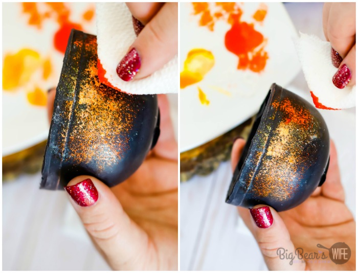 Painting Edible Rust onto Witch Cauldrons