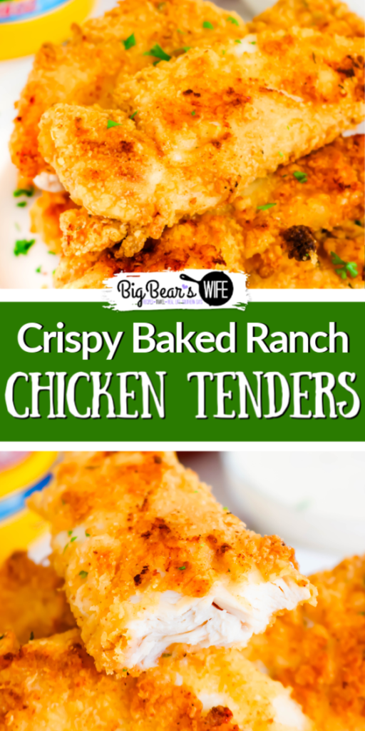 Crispy Baked Ranch Chicken Tenders - If you love ranch and chicken tenders you've found the best recipe for Crispy Baked Ranch Chicken Tenders right here! These chicken tenders are the crispiest baked chicken tenders I've ever made.