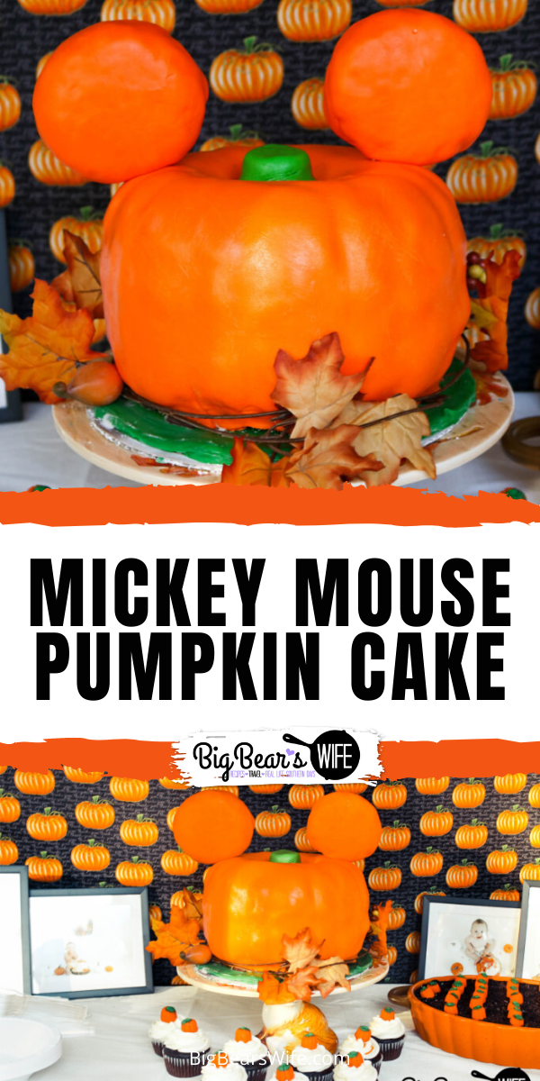 Mickey Mouse Pumpkin Cake - from Pumpkin Smash Cake from - If you're thinking about throwing a Mickey Pumpkin Birthday Party, I've got all kinds of ideas to point you in the right direction! I've got Mickey Pumpkin Birthday Party decorations, crafts and cake ideas for you! via @bigbearswife