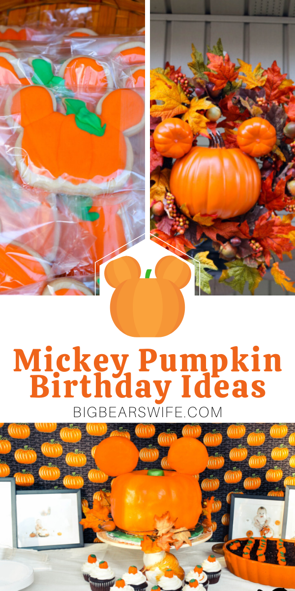 If you're thinking about throwing a Mickey Pumpkin Birthday Party, I've got all kinds of ideas to point you in the right direction! I've got Mickey Pumpkin Birthday Party decorations, crafts and cake ideas for you! via @bigbearswife