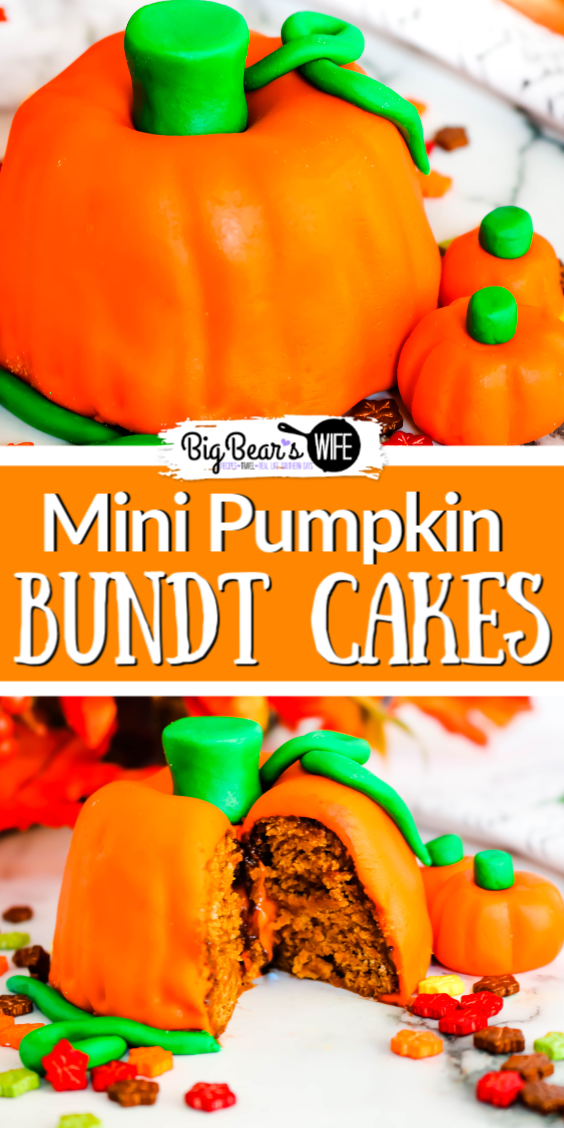 These Mini Pumpkin Bundt Cakes not only look like super cute little pumpkins but they're also pumpkin spice cake flavored!