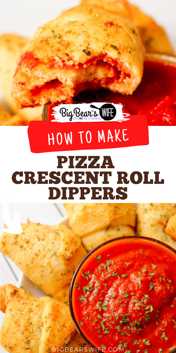 These Pizza Crescent Roll Dippers are tasty bites of pizza wrapped up in baked garlic olive oil brushed crescent rolls and dipped in marinara sauce. They make a great snack or an easy lunch or dinner! via @bigbearswife
