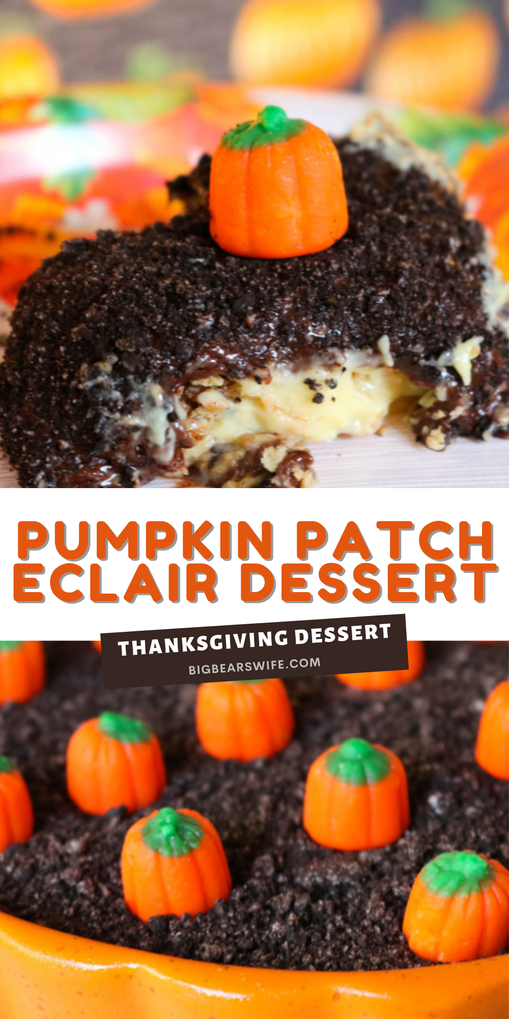 This Pumpkin Patch Eclair Dessert is perfect for any fall party, Halloween or Thanksgiving dinner! It's easy to make and one of our favorites!  via @bigbearswife