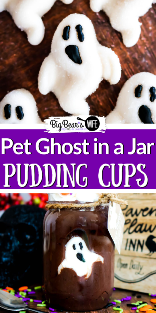 Pet Ghost in a Jar Pudding Cups - You better eat this dessert up fast before your pet ghost vanishes! These Pet Ghost in a Jar Pudding Cups have a friendly gummy ghost hiding in delicious chocolate pudding that makes the perfect Halloween treat!