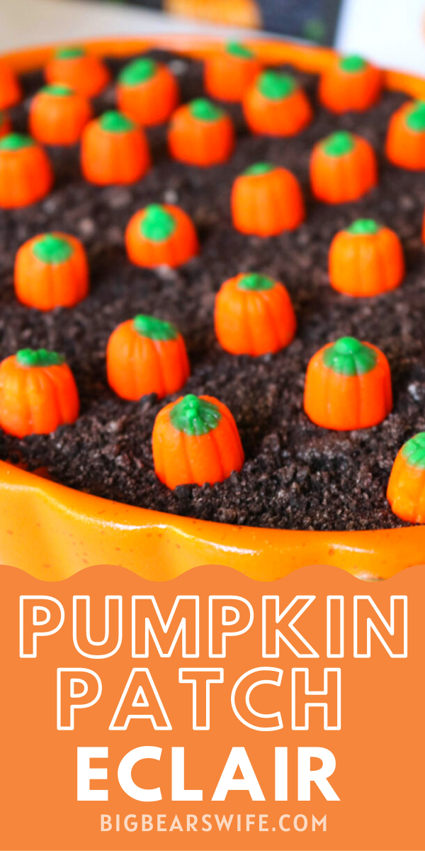 Pumpkin Patch Eclair -This Pumpkin Patch Eclair Dessert is perfect for any fall party, Halloween or Thanksgiving dinner! It's easy to make and one of our favorites!  via @bigbearswife