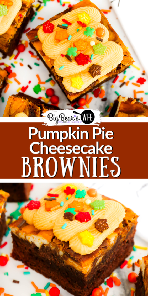 Pumpkin and Chocolate go hand in hand with these fantastic Pumpkin Pie Cheesecake Brownies! Homemade brownies swirled with cheesecake and pumpkin pie mix are sure sure to win your heart, especially when they're topped with pumpkin frosting and sprinkles!