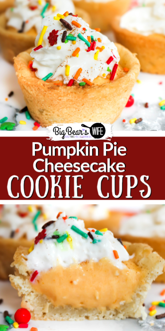 Pumpkin Pie Cheesecake Cookie Cups - These Pumpkin Pie Cheesecake Cookie Cups start off with homemade sugar cookie cups that are filled with a wonderful pumpkin pie cheesecake filling and topped with whipped cream for a cool and refreshing fall treat.