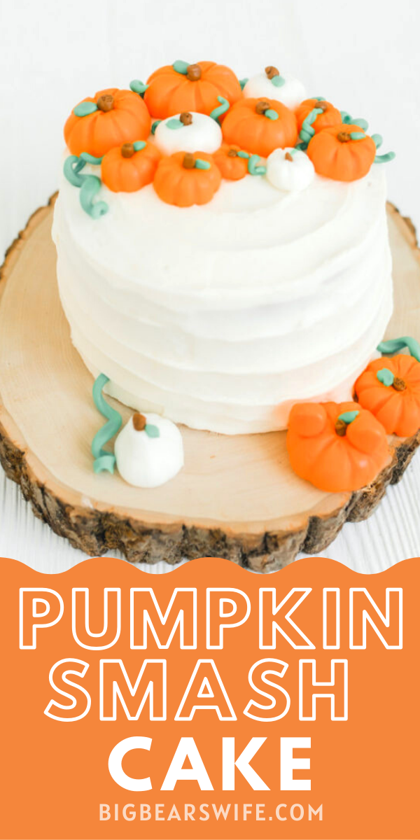 Pumpkin Smash Cake from - If you're thinking about throwing a Mickey Pumpkin Birthday Party, I've got all kinds of ideas to point you in the right direction! I've got Mickey Pumpkin Birthday Party decorations, crafts and cake ideas for you! via @bigbearswife