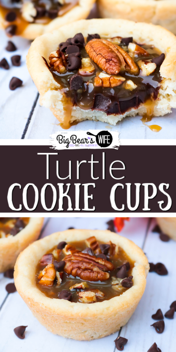 Easy, portable and delicious – these Turtle Cookie Cups are a dessert for any occasion. These delicious sugar cookie cups are filled with a homemade chocolate ganache, a layer of chopped pecans and topped with a sweet caramel sauce for a tasty, must-try treat.