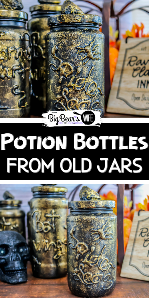 Recycle old jars into spooky Halloween decorations with this easy DIY Potion Bottles craft! Make these DIY Potion Bottles from Old Jars using clean jars, paint and a little hot glue!