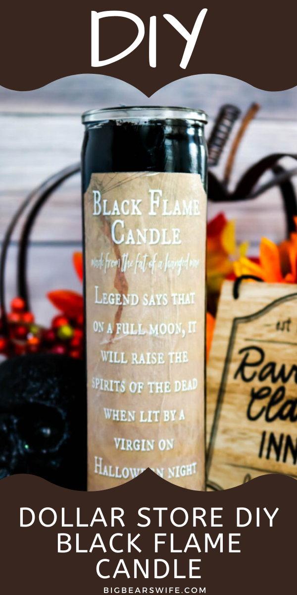 """Dollar Store DIY Black Flame Candle - If you love the movie """"Hocus Pocus"""" you need to stop what you're doing now and run to the Dollar Tree because I'm going to show you how to make your own Dollar Store DIY Black Flame Candle!"""