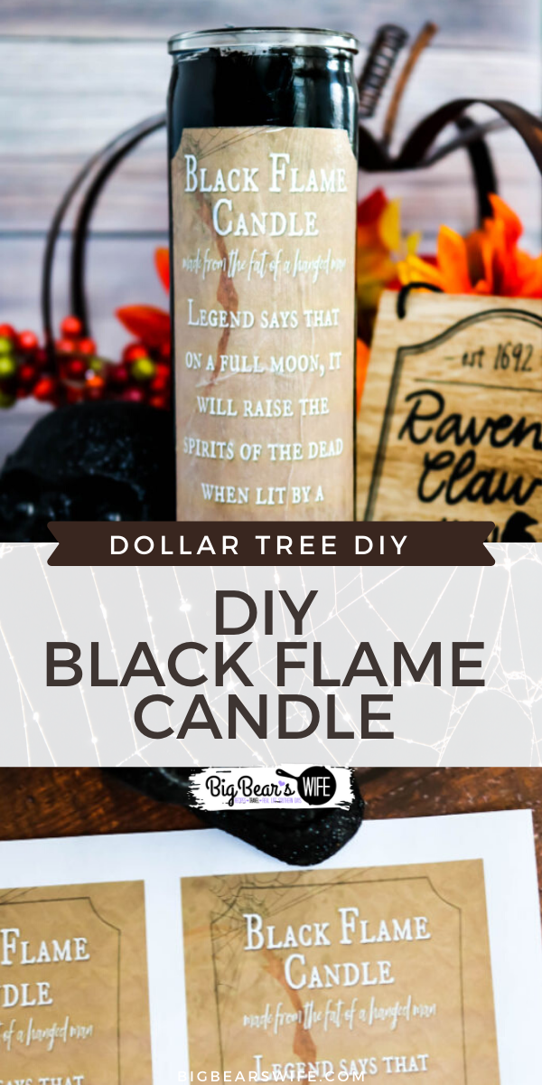 "Dollar Store DIY Black Flame Candle - If you love the movie ""Hocus Pocus"" you need to stop what you're doing now and run to the Dollar Tree because I'm going to show you how to make your own Dollar Store DIY Black Flame Candle! via @bigbearswife"