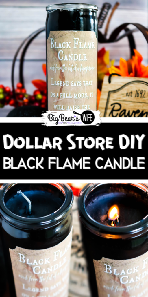 "Dollar Store DIY Black Flame Candle - If you love the movie ""Hocus Pocus"" you need to stop what you're doing now and run to the Dollar Tree because I'm going to show you how to make your own Dollar Store DIY Black Flame Candle!"