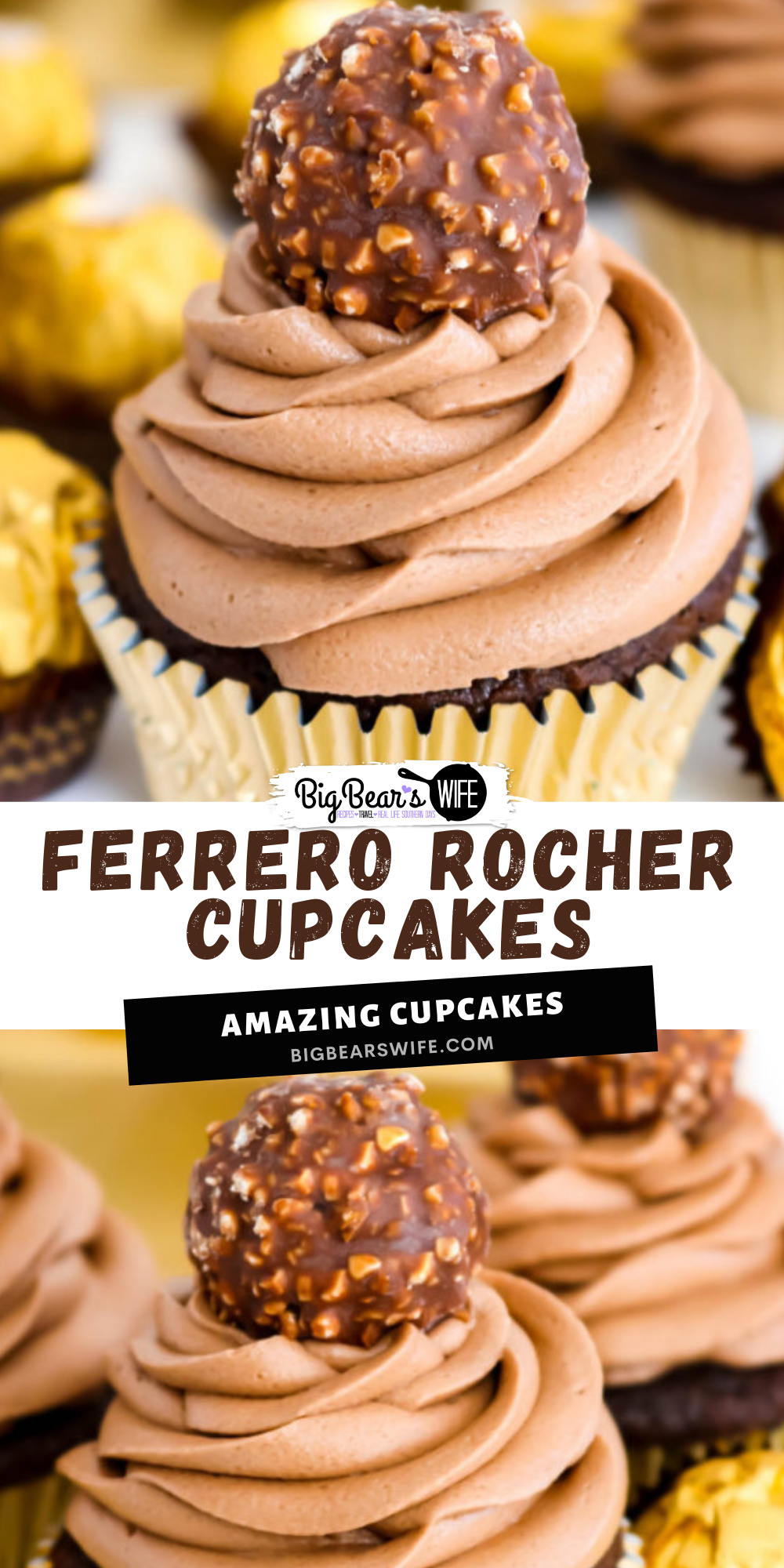 Love Ferrero Rocher Candies? Then these Ferrero Rocher Cupcakes are going to be your new favorite dessert! Homemade Chocolate cupcakes with a chocolate hazelnut frosting is topped with a Ferrero Rocher Chocolate and dressed in a gold cupcake liner for the most elegant cupcake ever. via @bigbearswife