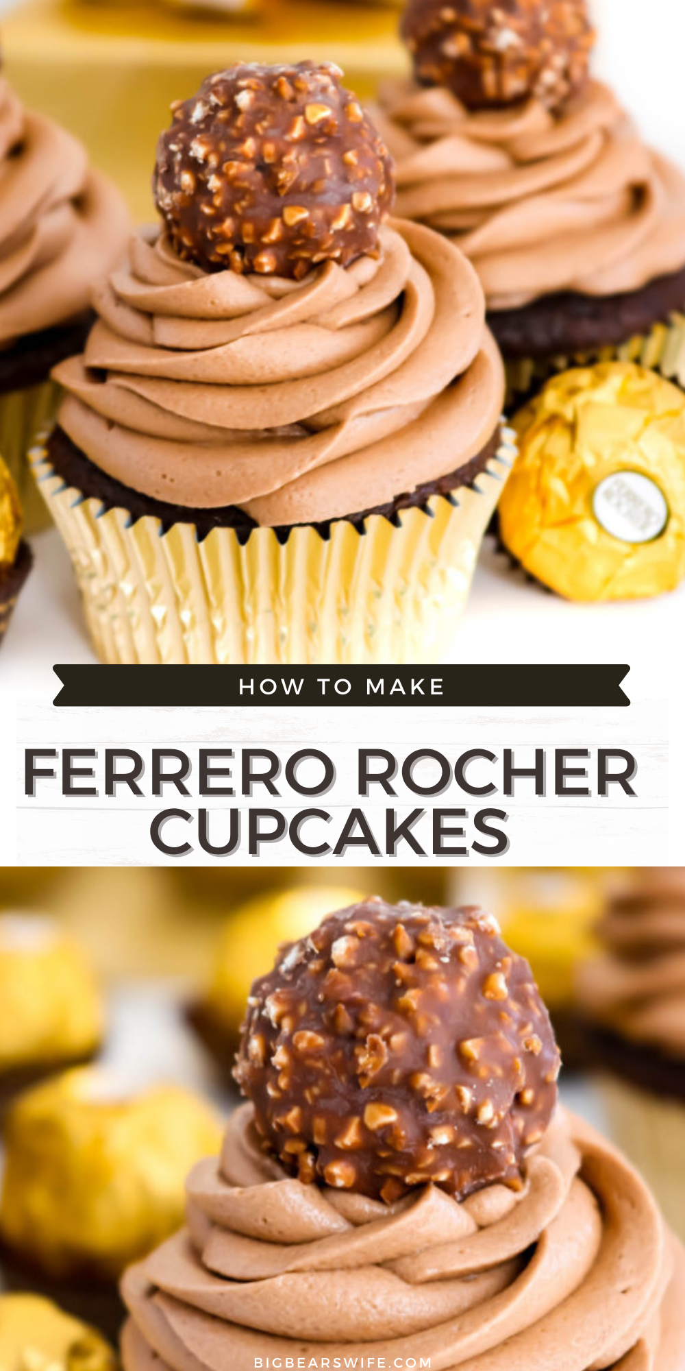 Love Ferrero Rocher Candies? Then these Ferrero Rocher Cupcakes are going to be your new favorite dessert! Homemade Chocolate cupcakes with a chocolate hazelnut frosting is topped with a Ferrero Rocher Chocolate and dressed in a gold cupcake liner for the most elegant cupcake ever.