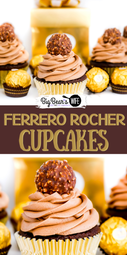 Ferrero Rocher Cupcakes - Love Ferrero Rocher Candies? Then these Ferrero Rocher Cupcakes are going to be your new favorite dessert! Homemade Chocolate cupcakes with a chocolate hazelnut frosting is topped with a Ferrero Rocher Chocolate and dressed in a gold cupcake liner for the most elegant cupcake ever.