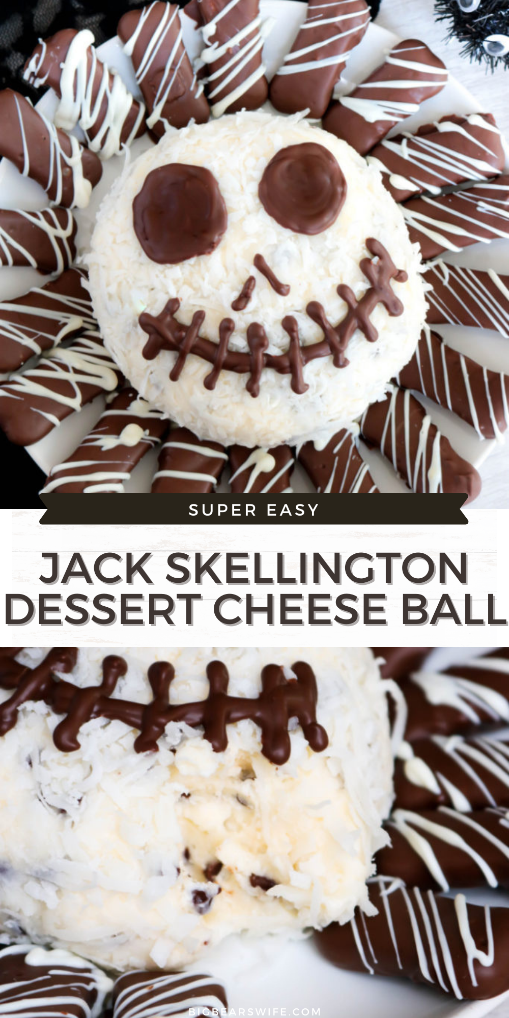 In love with The Nightmare Before Christmas and Dessert? Well this Jack Skellington Dessert Cheese Ball is for you! The Pumpkin King is transformed into a frightfully tasty cheese ball for the perfect Halloween party treat! via @bigbearswife