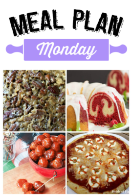 Welcome to another week of Meal Plan Monday! There are recipes for Eyeball Pizza, Crockpot Meatballs, Vanilla Red Velvet Marbled Pound Cake and Crockpot Pecan Pie!