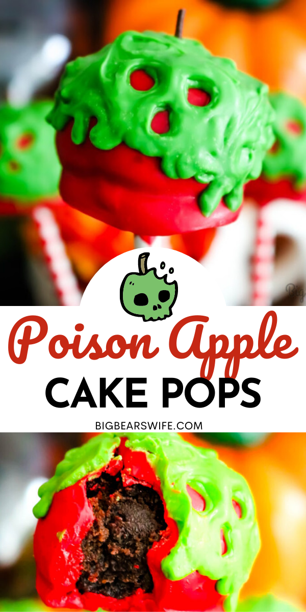 Poison Apple Cake Pops -  The Evil Queen is at it again with these Poison Apple Cake Pops! Perfect for Halloween parties, easy to decorate and great for topping cupcakes or cakes!  via @bigbearswife