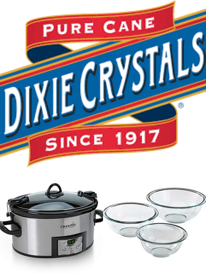 Dixie Crystals logo, slow cooker, and pyrex mixing bowls with white background.