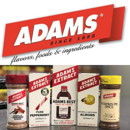 Adams Extract logo with 5 assorted flavors in their respective packaging.