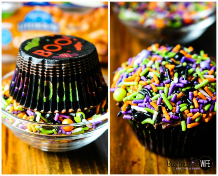 Dipping Cupcake in Sprinkles