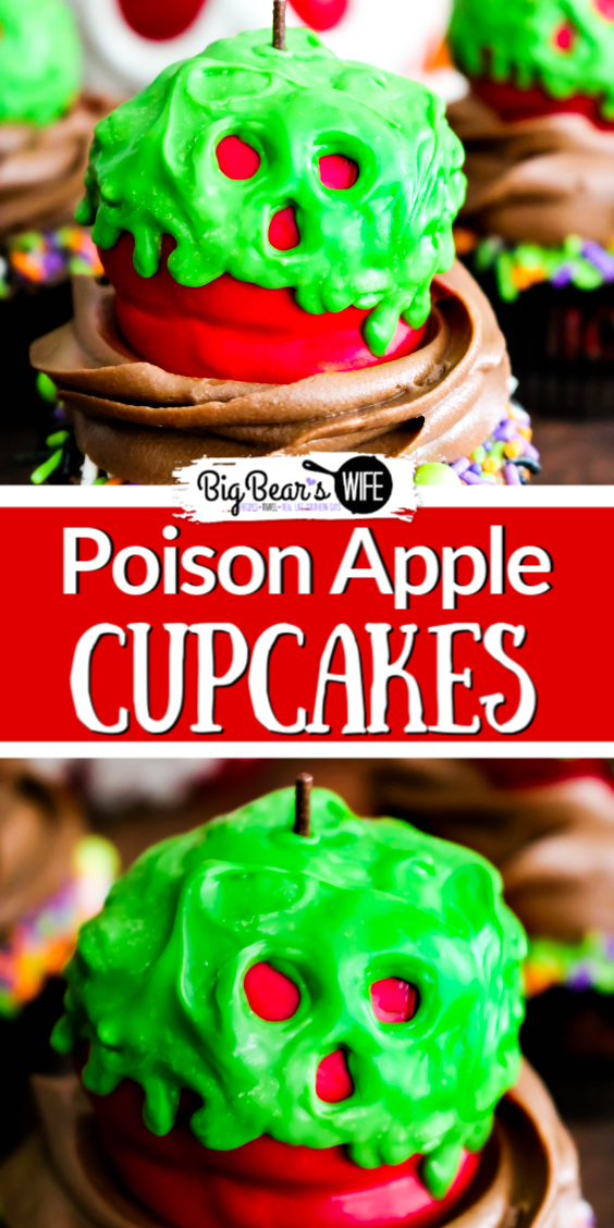 These wicked Poison Apple Cupcakes won't put your friends or family into a deep sleep but they will put a huge smile on their faces!