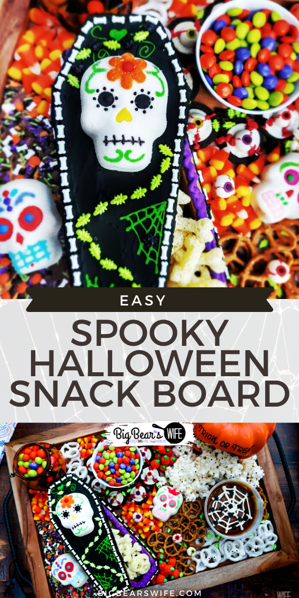SPOOKY HALLOWEEN SNACK BOARD - Snack Boards or Charcuterie boards are super easy to put together, they look great at parties and they're fun to create to match themed and holidays! This Spooky Halloween Snack Board is perfect for Halloween and super colorful!