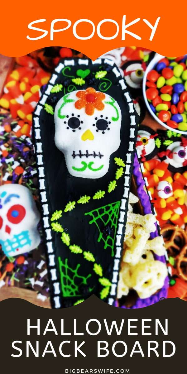SPOOKY HALLOWEEN SNACK BOARD - Snack Boards or Charcuterie boards are super easy to put together, they look great at parties and they're fun to create to match themed and holidays! This Spooky Halloween Snack Board is perfect for Halloween and super colorful! via @bigbearswife