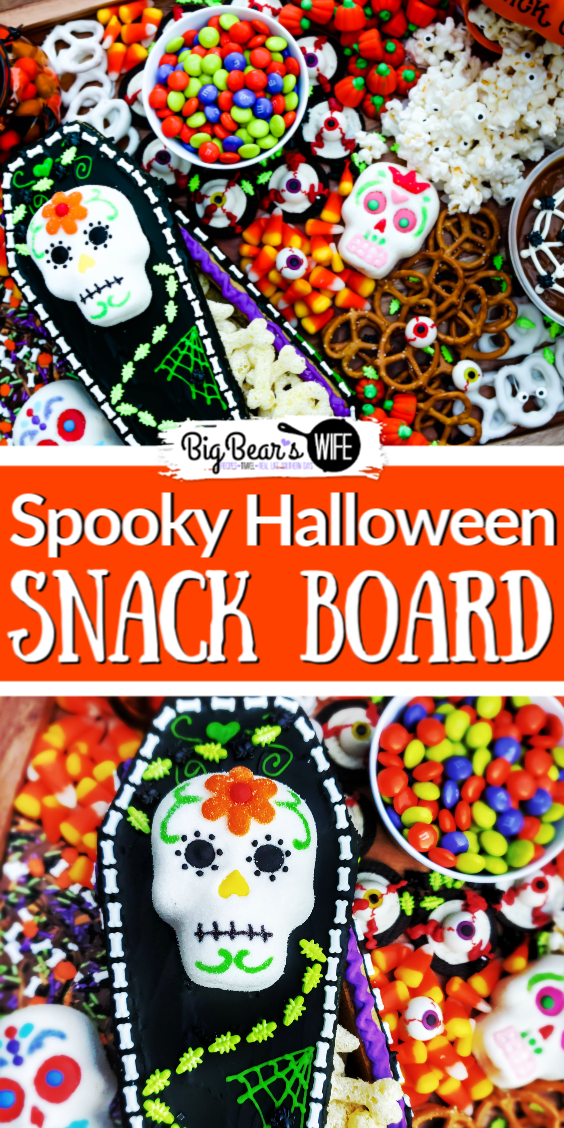 Snack Boards or Charcuterie boards are super easy to put together, they look great at parties and they're fun to create to match themed and holidays! This Spooky Halloween Snack Board is perfect for Halloween and super colorful!