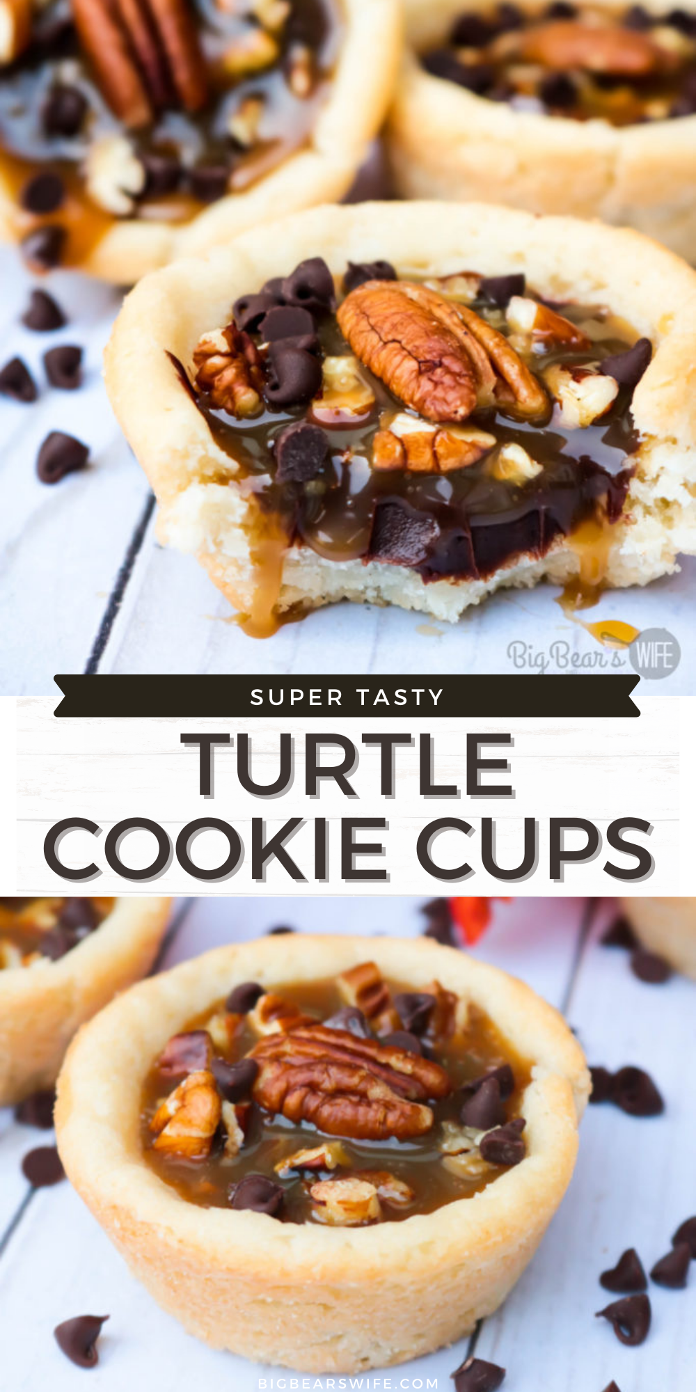 Easy, portable and delicious – these Turtle Cookie Cups are a dessert for any occasion. These delicious sugar cookie cups are filled with a homemade chocolate ganache, a layer of chopped pecans and topped with a sweet caramel sauce for a tasty, must-try treat. via @bigbearswife